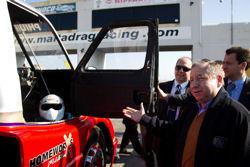 Jean Todt at the Hal Far Drag Racing Circuit admiring the Maksar Racing Team's truck