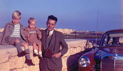 Tim Slade with family and Mercedes 180